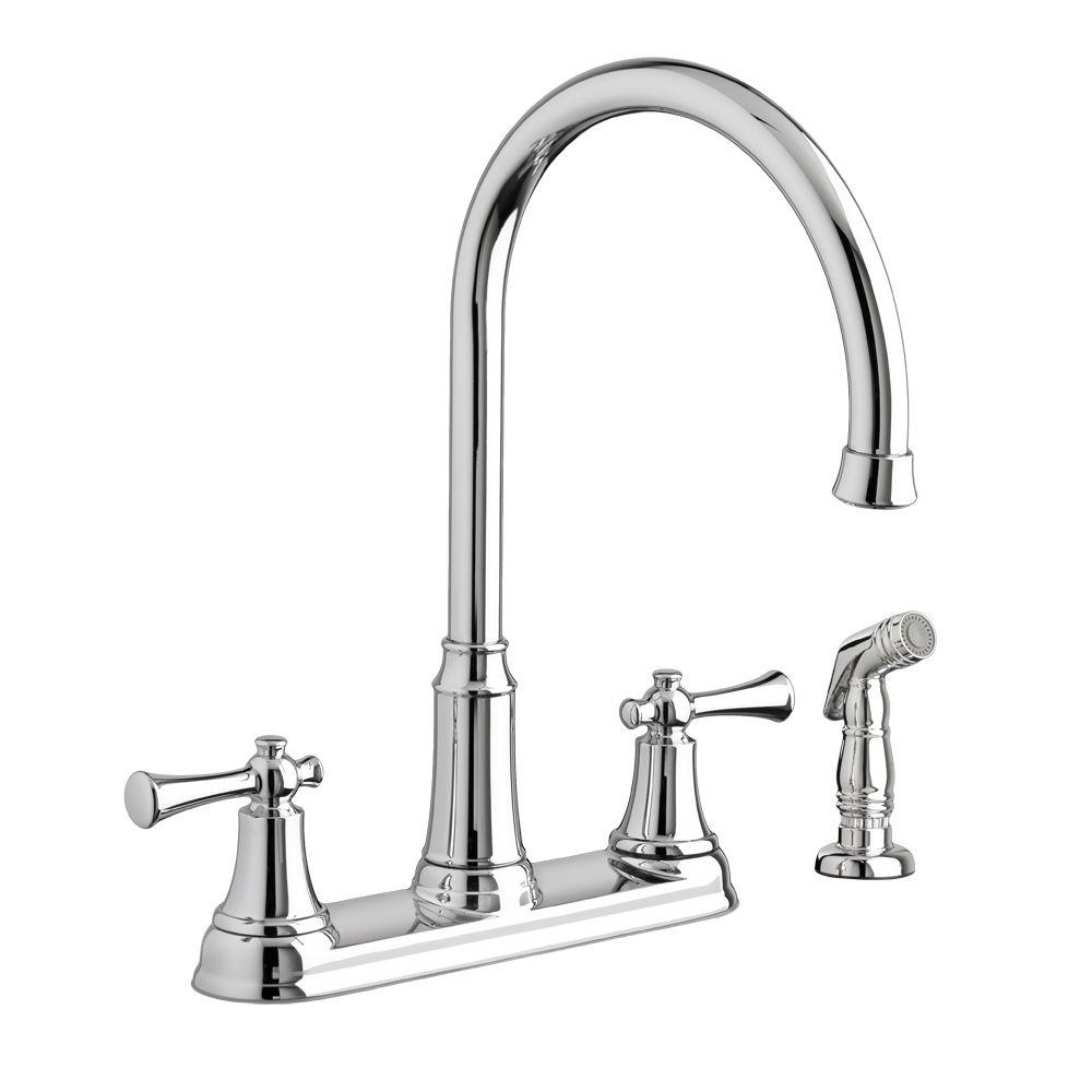 two handle kitchen faucets american standard faucets kitchen Portsmouth 2 Handle Standard Kitchen Faucet with Side Sprayer in Polished Chrome