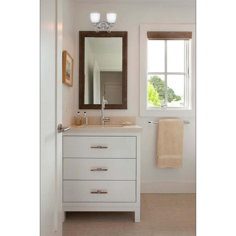 Glomar 2-Light Brushed Nickel Vanity Light with Frosted Linen Glass-HD-2797 - The Home Depot