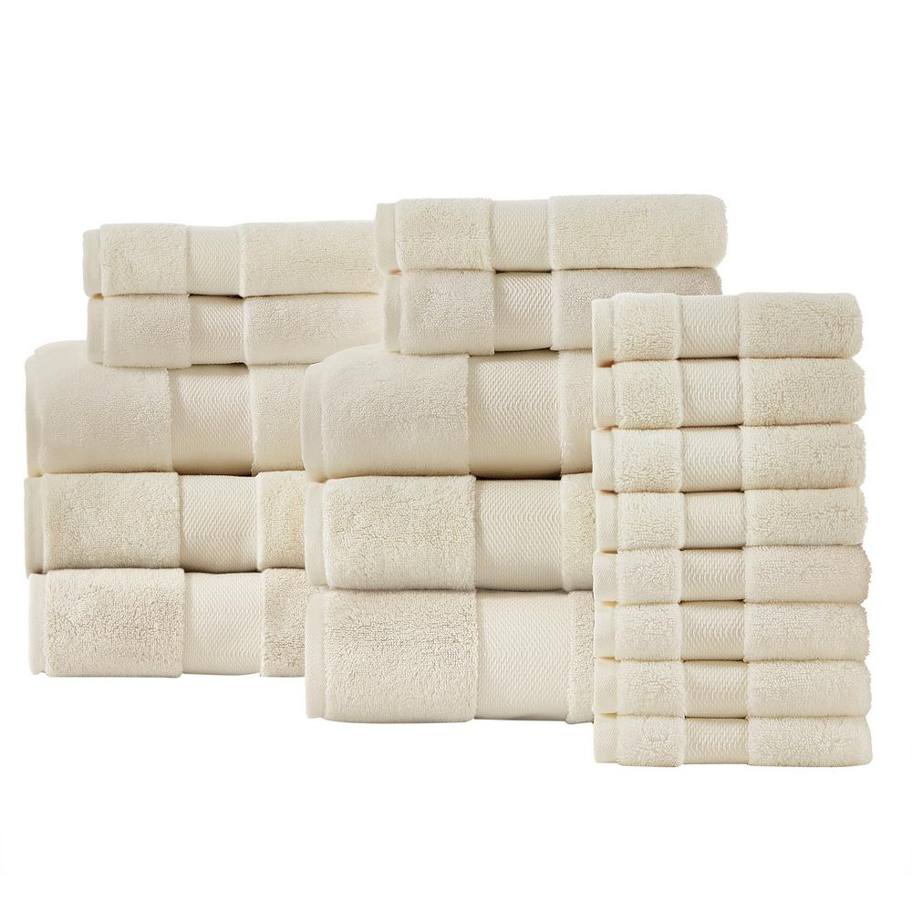 Home Decorators Collection Plush Soft Cotton 18-Piece Towel Set in Ivory was $137.0 now $82.2 (40.0% off)