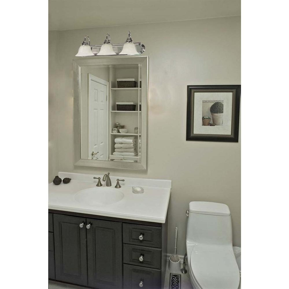 Vanity Lights Polished Chrome : Glomar 3-Light Polished Chrome Vanity Light with Alabaster Glass Bell Shades-HD-317 - The Home Depot
